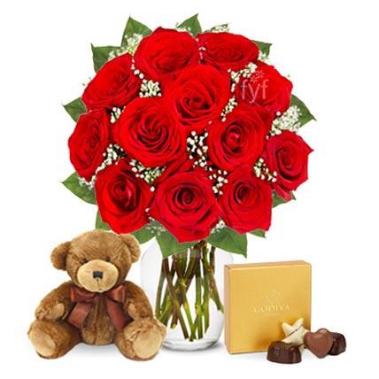 One Dozen Roses with Godiva Chocolates and Bear