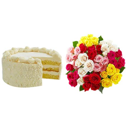 Vanilla Cake with Assorted Roses